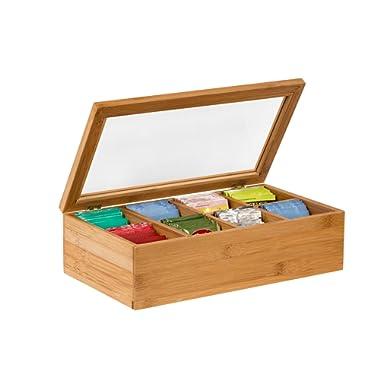 Sagler Tea Box Tea Storage Bamboo Natural, Nice Tea Chest Tea Packaging Good for Tea Bag Holder