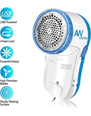 AW Union Fabric Shaver Lint Remover, Electric USB Powered Corded Sweater Shaver, Efficiently Remove Lint Pill and Bubble for Fabric, Clothes, Upholstery (1.2m/4ft Cord)