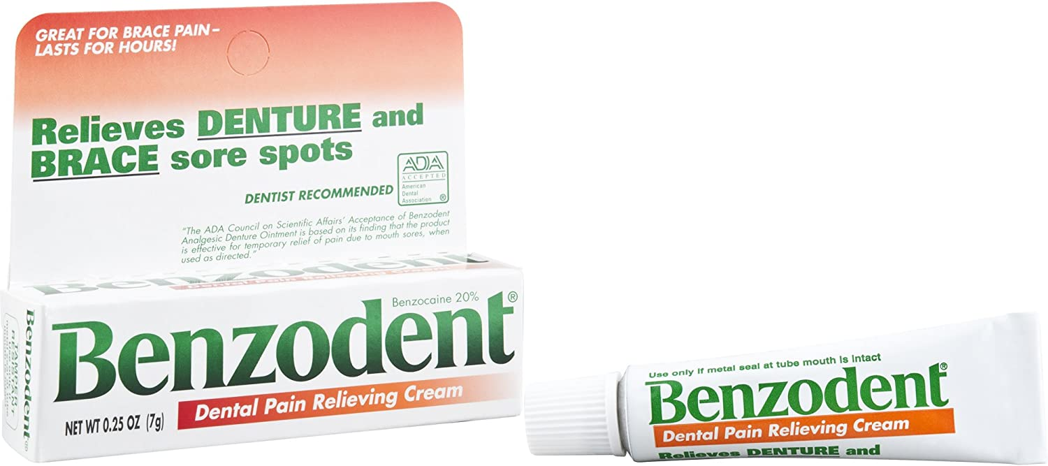 Benzodent Dental Pain Relieving Cream for Dentures and Braces, 0.25 Ounce Tube: Health & Personal Care