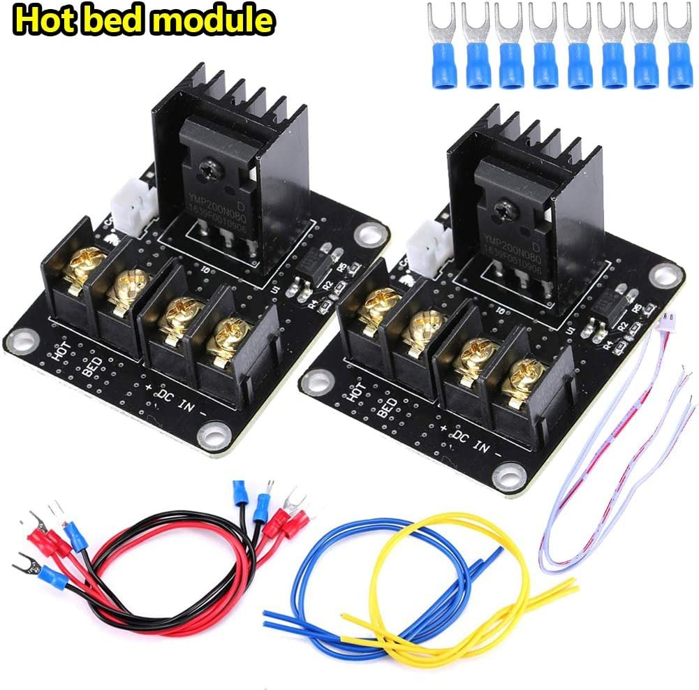 Rokoo 2 Sets Kit de módulo de alimentación de cama caliente de calor Kit de módulo de carga de alta corriente MOS Tube para impresora 3D