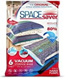 SpaceSaver Premium Reusable Vacuum Storage Bags (Jumbo 6 Pack), Save 80% More Storage Space. Double Zip Seal & Leak Valve, Travel Hand Pump Included. (40 x 30 Inch / 100 x 80cm)