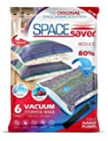 Premium Spacesaver *Jumbo Vacuum Storage Bags* [Works With Any Vacuum Cleaner + FREE Hand-Pump for Travel!] Double-Zip Seal and Triple Seal Turbo-Valve for Maximum Compression! [80% More Storage Space than other Brands!] 100% Money-Back Guarantee!