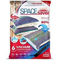 SpaceSaver Premium Reusable Vacuum Storage Bags (Jumbo 6 Pack), Save 80% More Storage Space. Double Zip Seal & Leak Valve, Travel Hand Pump Included