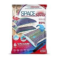 SpaceSaver Premium Reusable Vacuum Storage Bags (Jumbo 6 Pack), Save 80% More Storage Space. Double Zip Seal & Leak Valve, Travel Hand Pump Included. (40 x 30 Inch / 100 x 80cm)