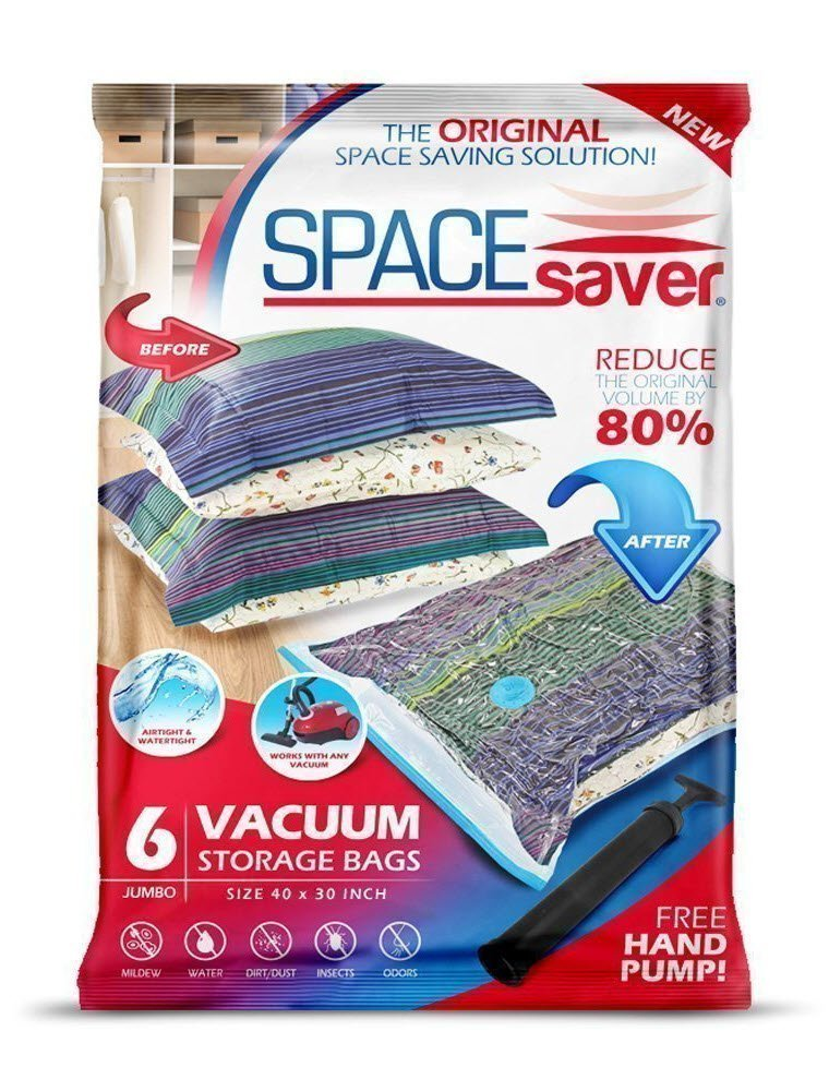 SpaceSaver Premium Reusable Vacuum Storage Bags (Jumbo 6 Pack), Save 80% More Storage Space. Double Zip Seal & Leak Valve, Travel Hand Pump Included. by Space Saver
