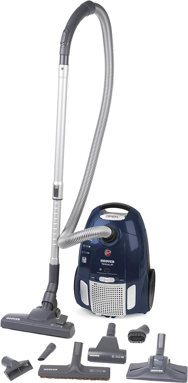 Hoover Telios Plus TE80PET Aspiradora con bolsa, Cepillo especial pelo de mascota, Suelos duros, Parquet, Alfombras, Filtros epa, 3.5 litros, 66 Decibelios, Plástico, Azul: Hoover: Amazon.es: Hogar
