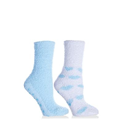 MinxNY - 2 Pair Pack of Kissables Lavender Infused Chenille Slipper Socks-Blue and White with Blue Hearts, One Size Fits Most at Women's Clothing store: Casual Socks