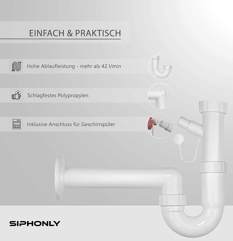 Siphon de lavabo DN 40 avec rosette de recouvrement /Ø 85 mm