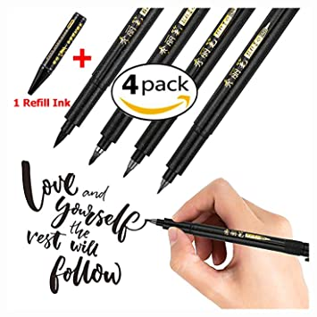 9Pcs Black Fine Liner Brush Pens Set Signature Drawing Ink Pens Art Drawing DIY
