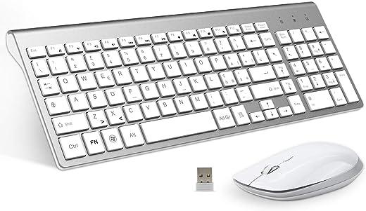 Tastiera Wireless Layout Italiano e Mouse, Fenifox Mouse Tastiera Wireless, Kit Keyboard Mouse Wireless 2.4G, Pulsante Silenzioso, Compatibili Mac/Windows/Tablet-Argento