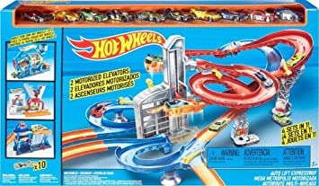 Hot Wheels, pista, DRB28, con10 veicoli, set Mega Metropolis