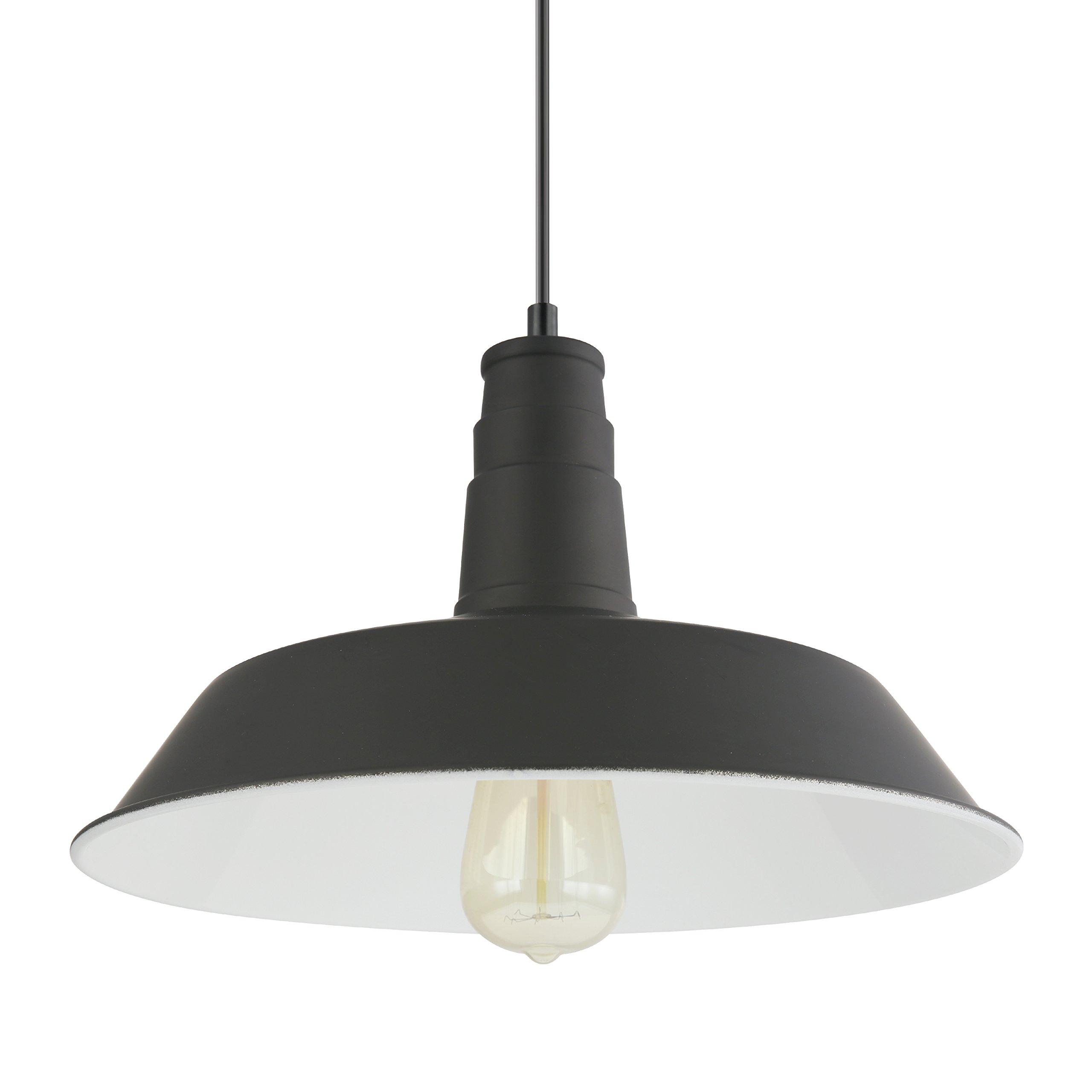 Light Society Kress Pendant Light, Matte Black Shade with White Interior, Vintage Modern Industrial Farmhouse Lighting Fixture (LS-C199-BLK) by Light Society (Image #3)