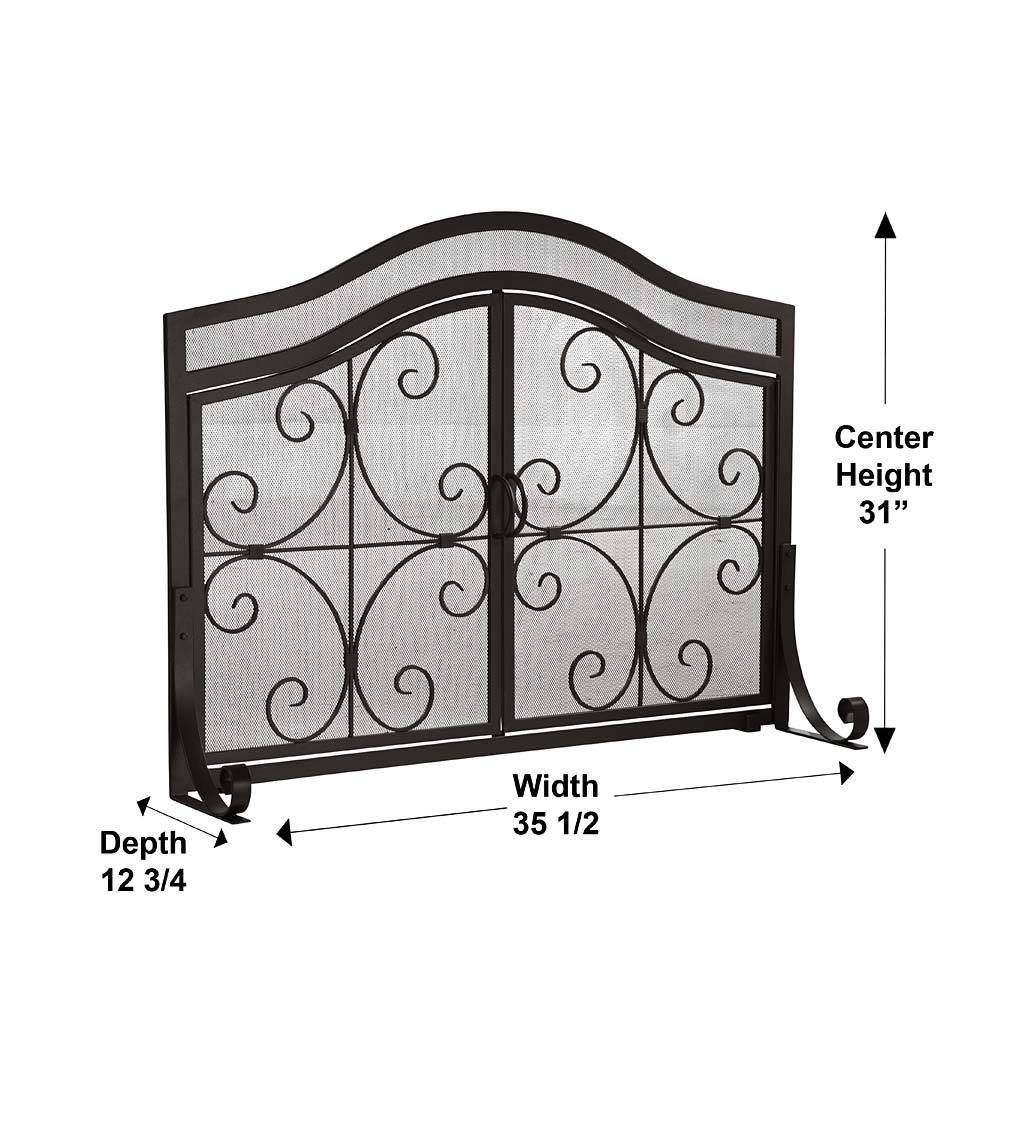 Short Fireplace Screens Part - 19: Amazon.com: Small Crest Fireplace Screen With Doors, Solid Wrought Iron  Frame With Metal Mesh, Decorative Scroll Design, Free Standing Spark Guard  38 W X 31 ...