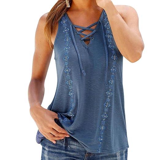 Pengy Women Summer V Neck Sleeveless Boho Style Straps Tank Tops