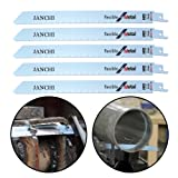 9-Inch 14TPI Heavy Duty Metal Cutting Reciprocating Saw Blades, Top Material Bi-Metal Demolition Reciprocating Saw Blades For Thick Metal Fast Straight Cutting, Solid Pipes, Profiles 5-PACK