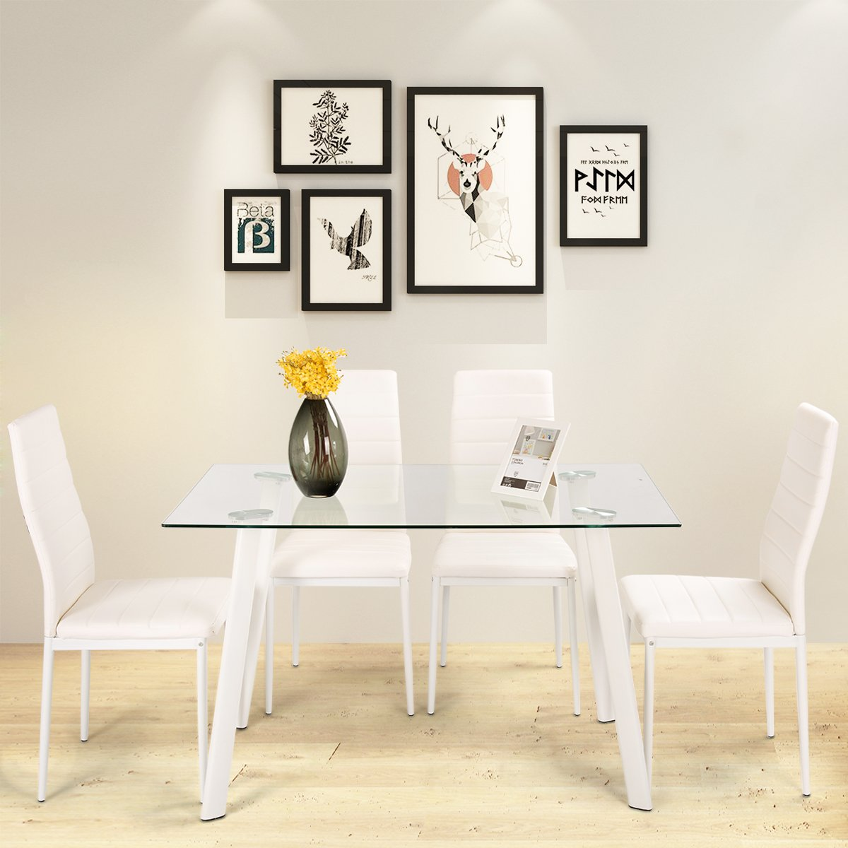 Costway Glass Dining Table Chairs Set - Tempered Glass Table and 4 Faux Leather Padded Chairs Furniture Set Kitchen Home Indoor 5PCS (White)