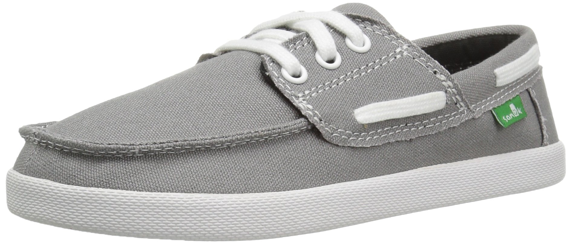 Sanuk Kids Boys' Lil Deck Hand Boat Shoe (Toddler/Little Kid/Big Kid), Grey, 2 M US Little Kid