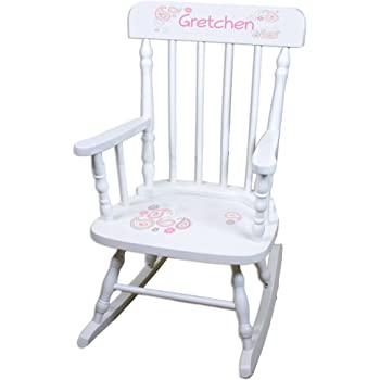 Personalized Paisley Pink Gray White Childrens Rocking Chair
