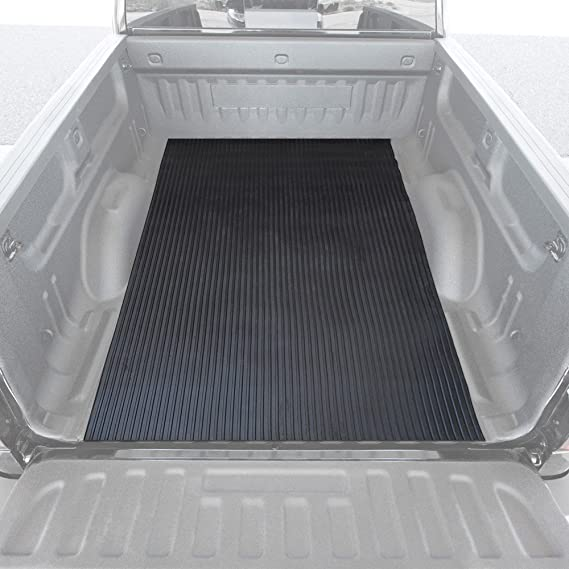 BDK M330 Black Heavy-Duty Utility Truck Bed Floor Rubber Cargo Mat 4' x 8' -Extra Thick Durable Protection-Easy to Trim
