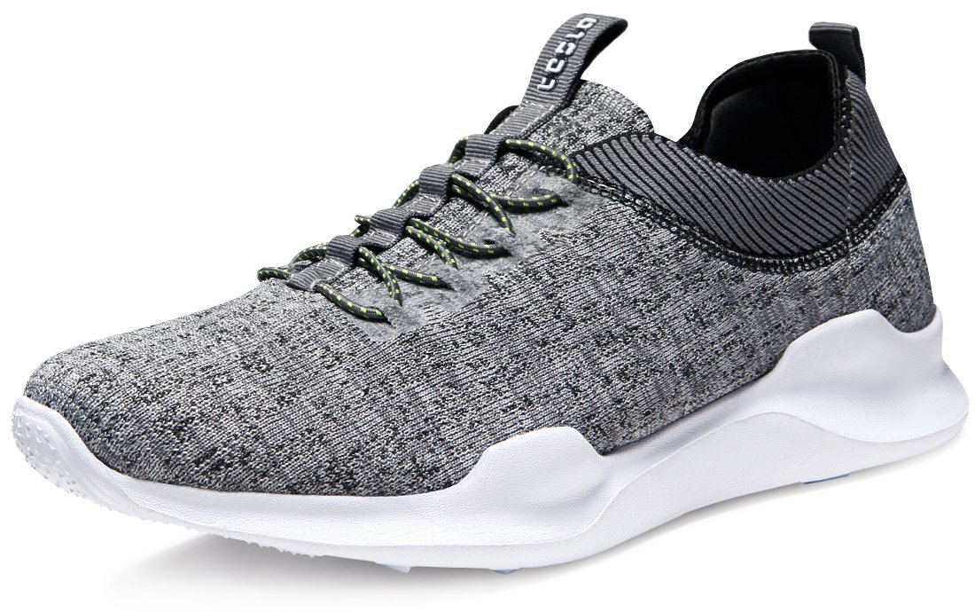 Tesla TF-E734-GRY_Men 9.5 D(M) Unisex Knit Design Running Walking Sneakers Performance Shoes E734