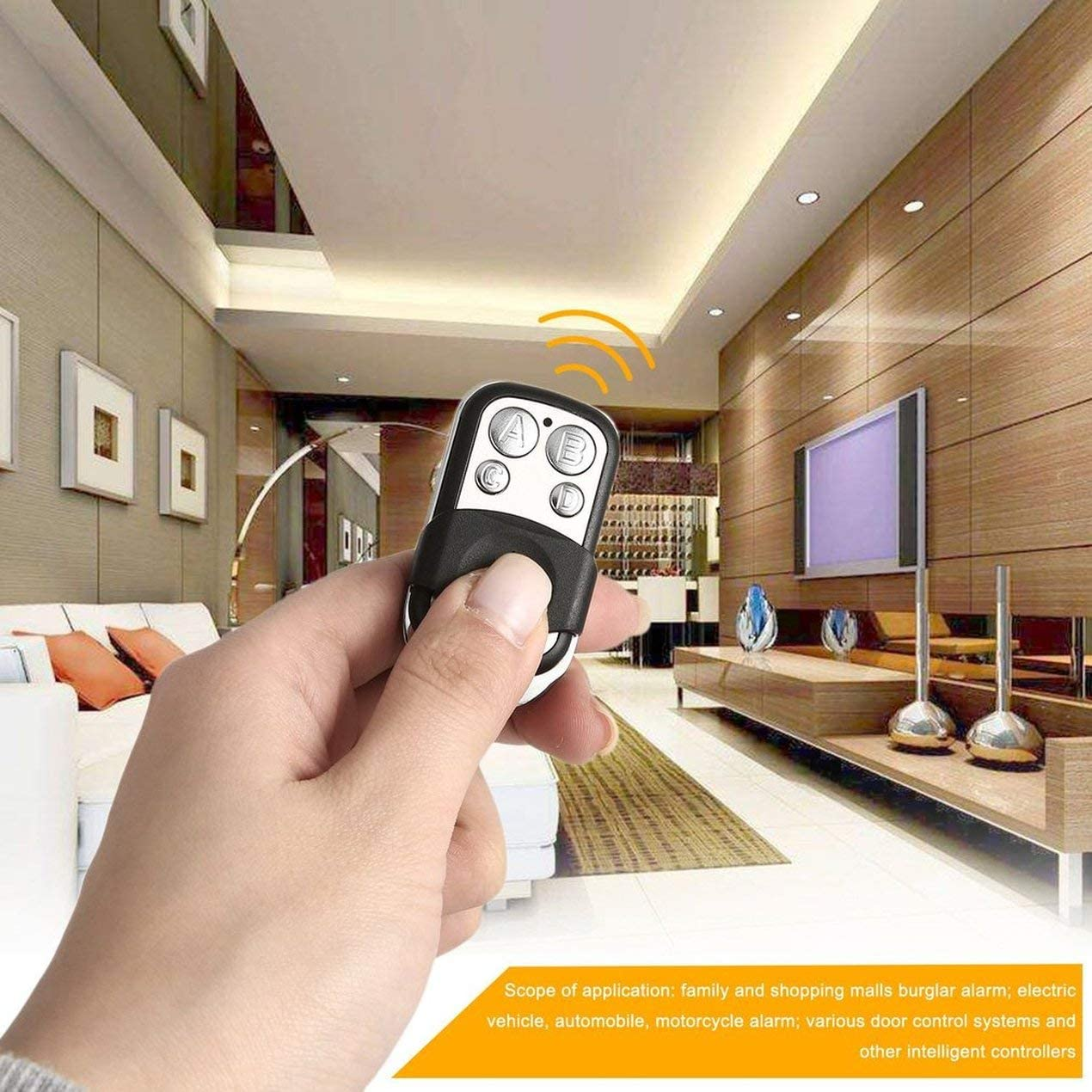 JullyCAnnice 433MHz Wireless Universal Copy Remote Control Metal Push Cover 4 Key Garage Door Duplicator Car Key Fob Auto Alarm System