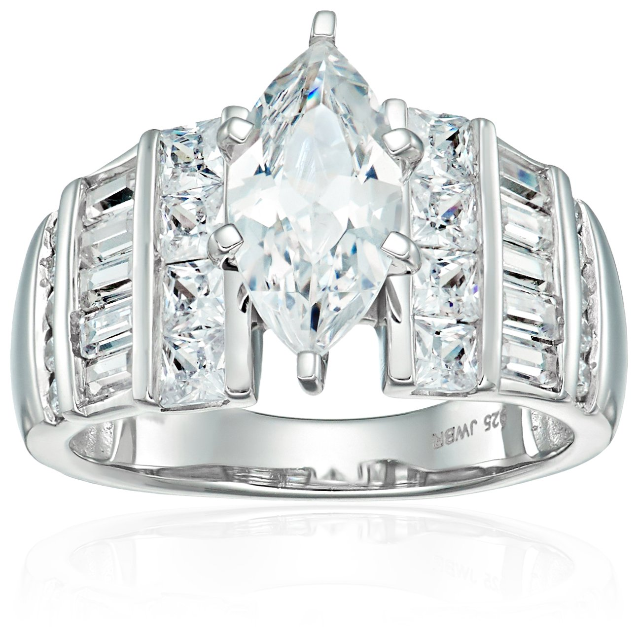 Sterling Silver Cubic Zirconia Marquise Cut Engagement Ring, Size 8 by Amazon Collection (Image #1)
