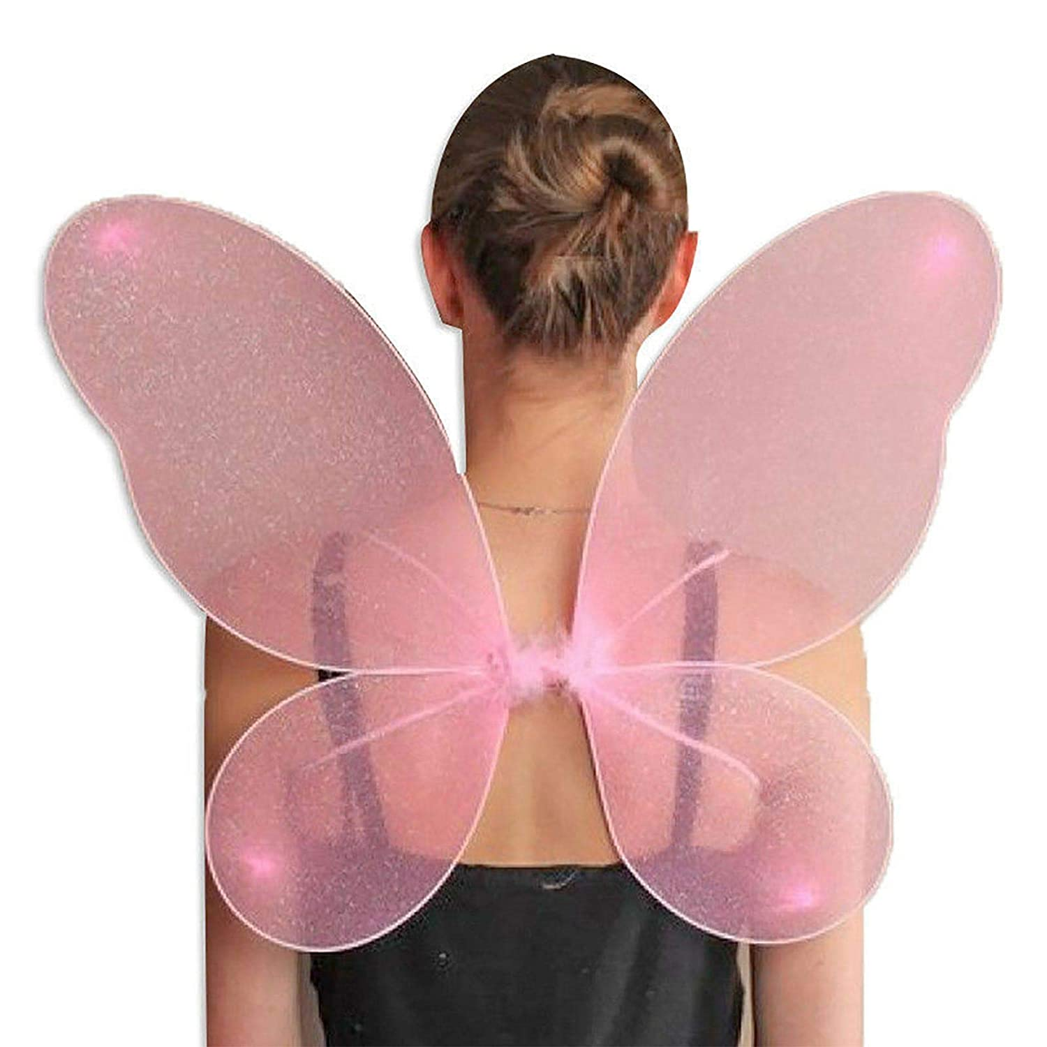 LARGE ADULT NET FAIRY WINGS WITH SILVER GLITTER FANCY DRESS UP PINK WHITE BLACK