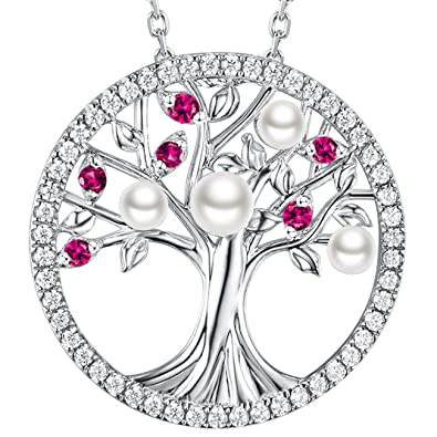 bd98eb993f3 July Birthstone Red Ruby White Pearl Necklace Tree of Life Green Emerald  Sterling Silver Jewelry for Women Mom Girls Love Family Birthday Gifts