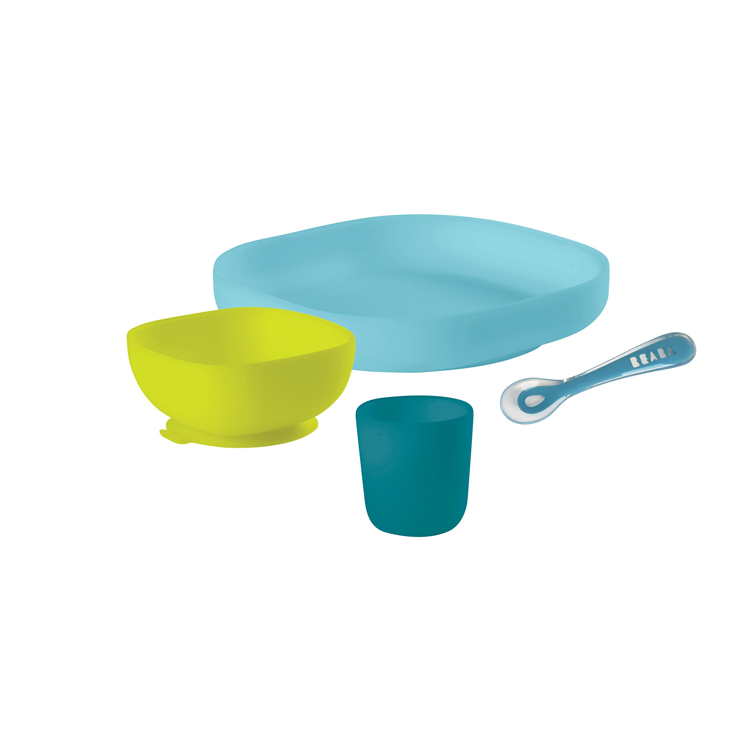 BEABA Silicone 4-Piece Meal Set - Easy to Clean - Dishwasher and Microwave Safe - Soft, Unbreakable, Non-Slip Suction Bottom - Includes Plate, Bowl, Cup and 2nd Stage Silicone Spoon (Peacock)