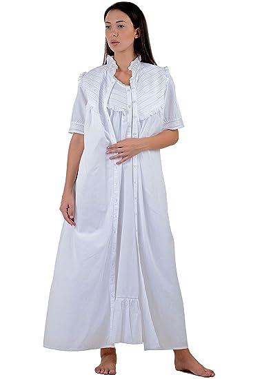 19332b6dc7 Cotton Lane White Cotton Nightdress | White Cotton Housecoat: Amazon.co.uk:  Clothing