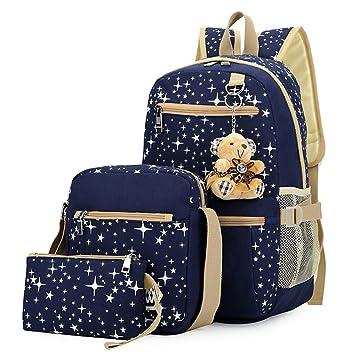 Bolsa de Lona Mochilas Escolares Mochila + Bolso de Bandolera + Billetera + Muñeca Del Oso Para Niñas Adolescentes Azul: Amazon.es: Equipaje