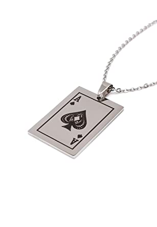 Amazon ace of spades pendant on fine cable chain stainless ace of spades pendant on fine cable chain stainless steel silver finish necklace card aloadofball Image collections