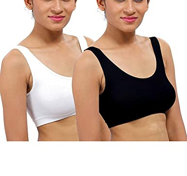 0d758b3ac3 NIYANK Women s Cotton Dailywear Non-Padded Sports Air Bra Combo (Free Size)  - Pack of 2 (Black + White)  Amazon.in  Clothing   Accessories