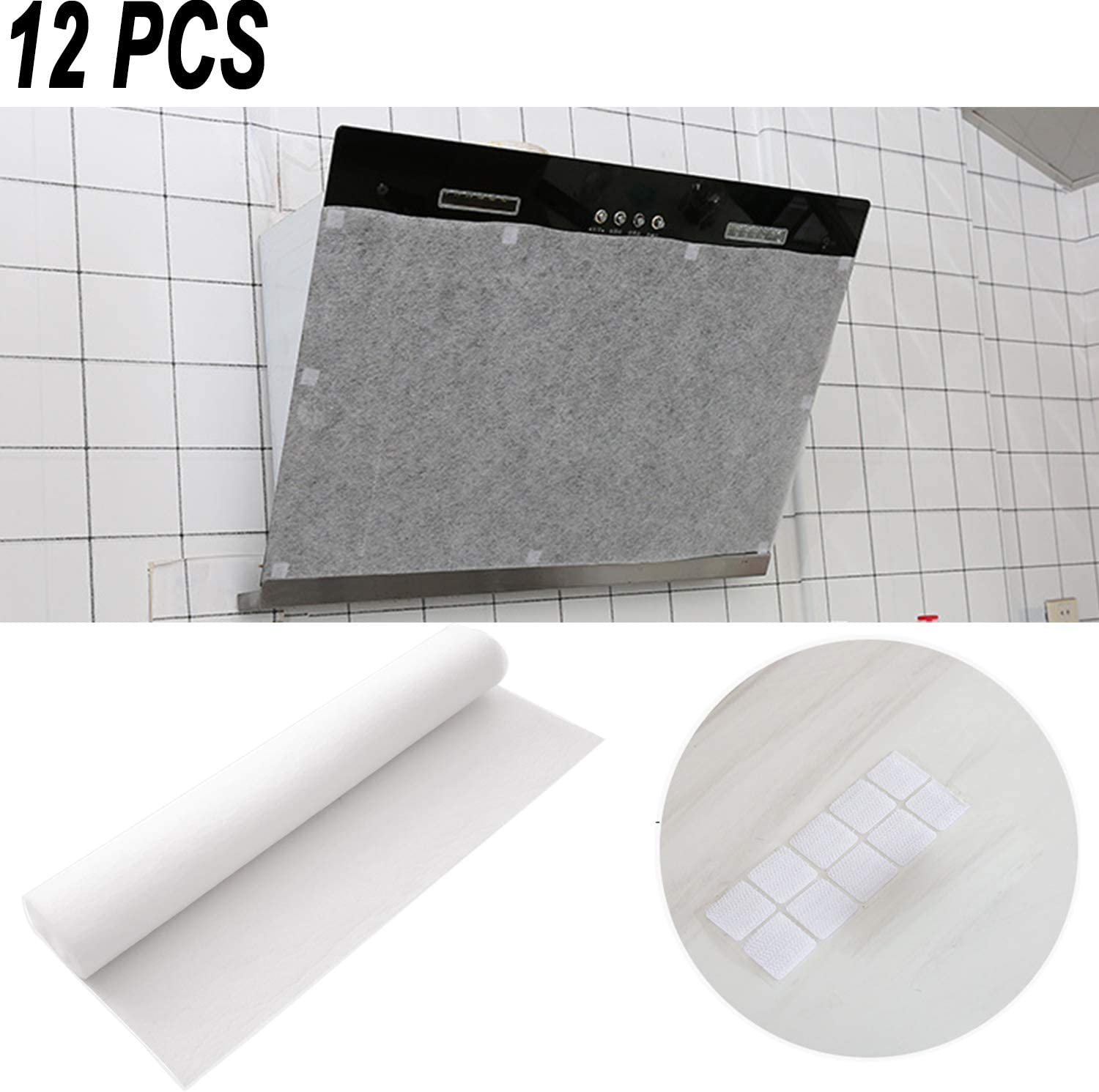 "12 PCS Range Hood Grease Filter, Kitchen Oil Filter Paper Transparent Durable Oil-Absorbing Paper Oil-Proof Sticker, Ideal for Range Hood Cleaning, 10 Magic Tape Included(17"" x 17.7"")"