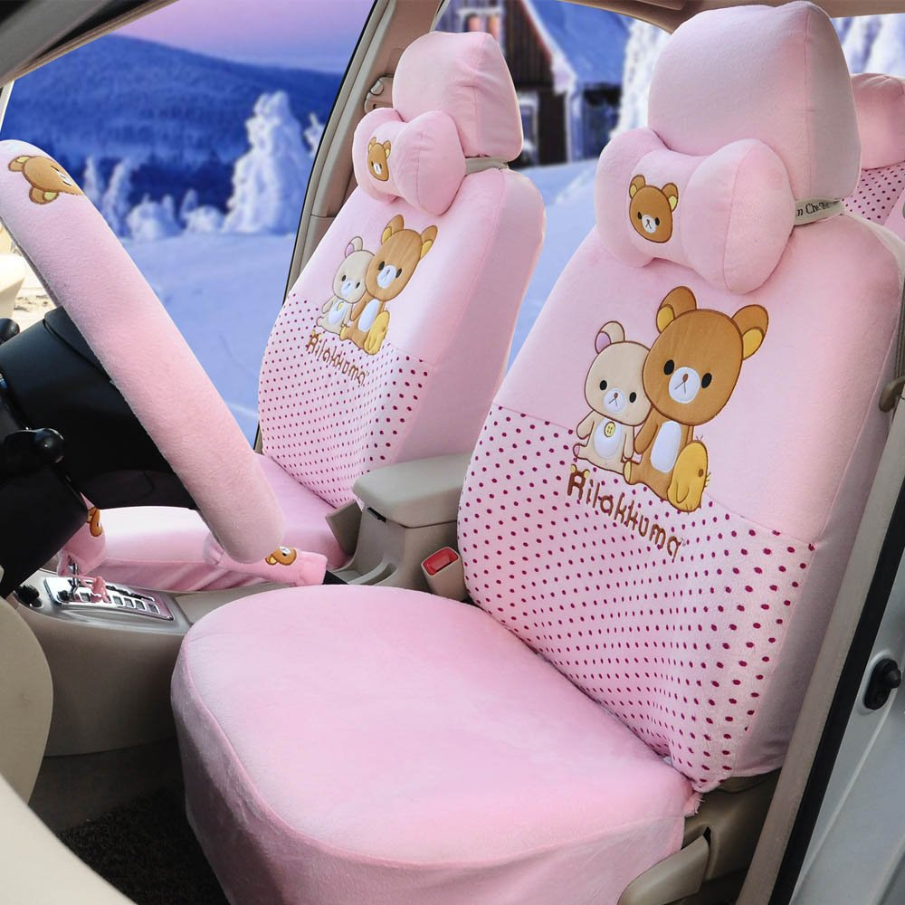 1 set fashion car five seat covers full set pink car steering wheel cover car neck pillows