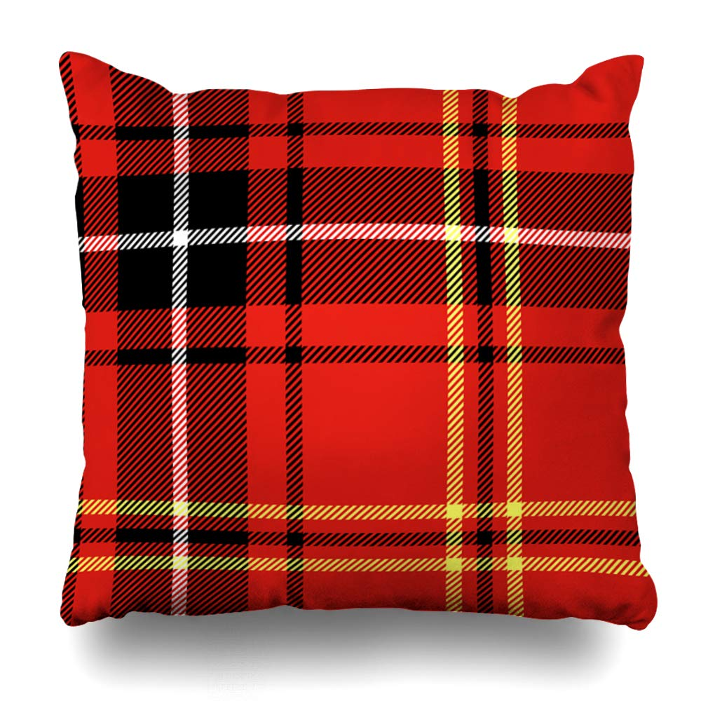 Soopat Decorative Throw Pillow Cover Square Cushion 18X18 Black Tartan Traditional Checkered British Bright Checked Chic Pillowcase Home Decor Kitchen Garden Sofa