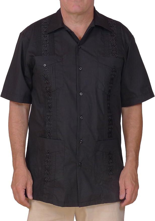 Squish - Camisa de estilo cubano Guayabera, color negro: Amazon.es: Ropa y accesorios