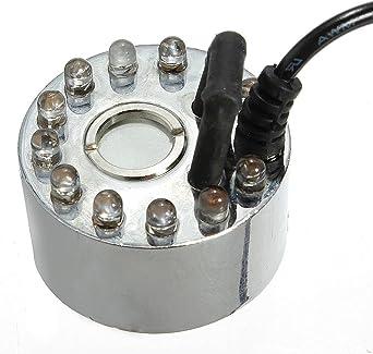SOLMORE Brumisateur Diffuseur Fogger Brume Lampe Atomisation Fabrication Brouillard 12 LED Multicolore Humidificateur pour Fontaine///Étang//Piscine//Aquarium//Eau//Bureau//Maison DC 24V