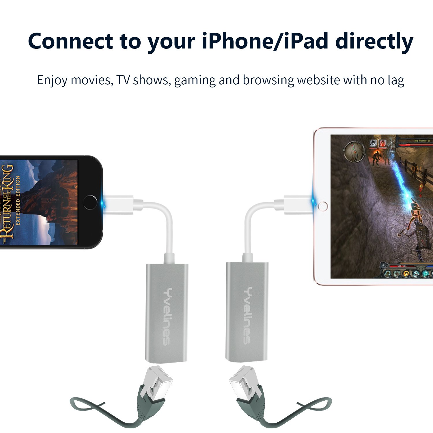 Lightning to RJ45 Ethernet Network LAN Wired Adapter, Yvelines Portable  Aluminum 10/100Mbps Hub Converter for iPad/iPhone/iPod Internet Connection  via