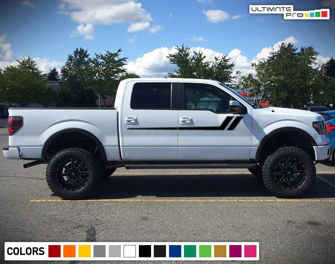 Bubbles Designs Decal Graphic Vinyl Upper Door Racing Stripe Kit Compatible with Ford F150 Series 2009-2017 Black