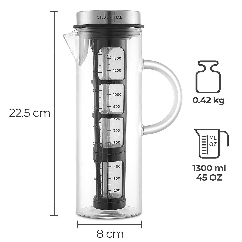 Cafetera Fria Cristal 1,3l SILBERTHAL Jarra Agua con Tapa Preparar t/é Frio o caf/é Cold Brew Coffee Maker