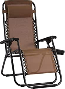 Zero Gravity Chair Patio Chairs Lounge Patio Chaise 1 Pack Adjustable Reliners for Pool Yard with Cup Holder (Brown)
