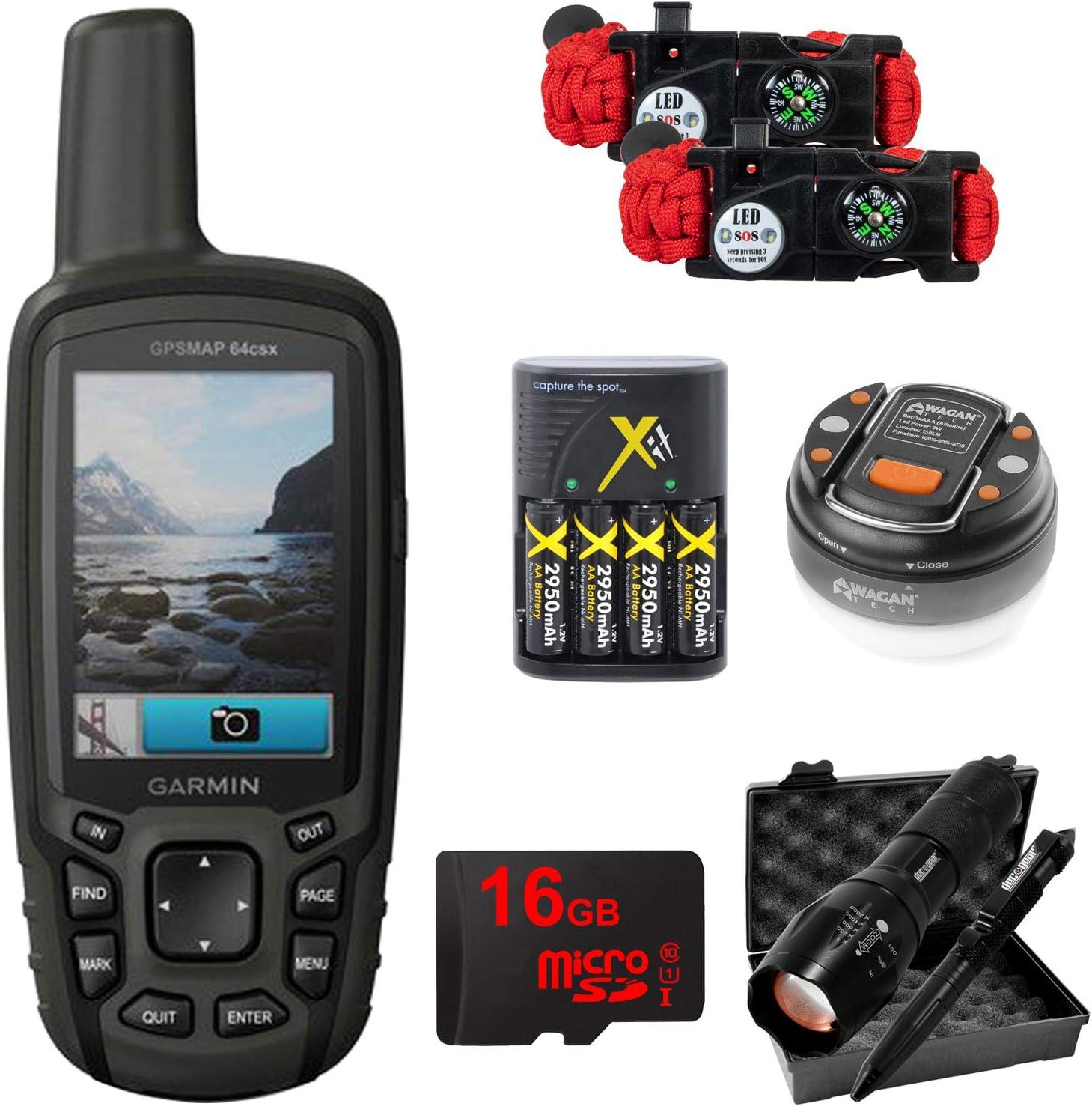 010-02258-20 Garmin GPSMAP 64csx Handheld GPS with 16GB Camping /& Hiking Bundle