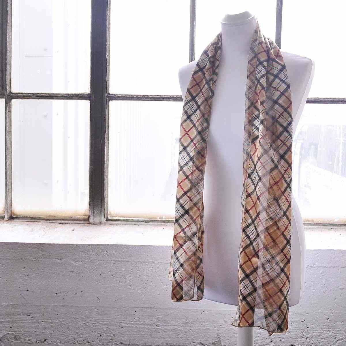 Unisex Scottish Checked Wrap Satin Stripe Silky Tartan Scarf Scarves
