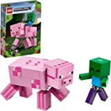 LEGO Minecraft Pig BigFig and Baby Zombie Character 21157 Cool Buildable Play-and-Display Toy Animal Figure for Kids