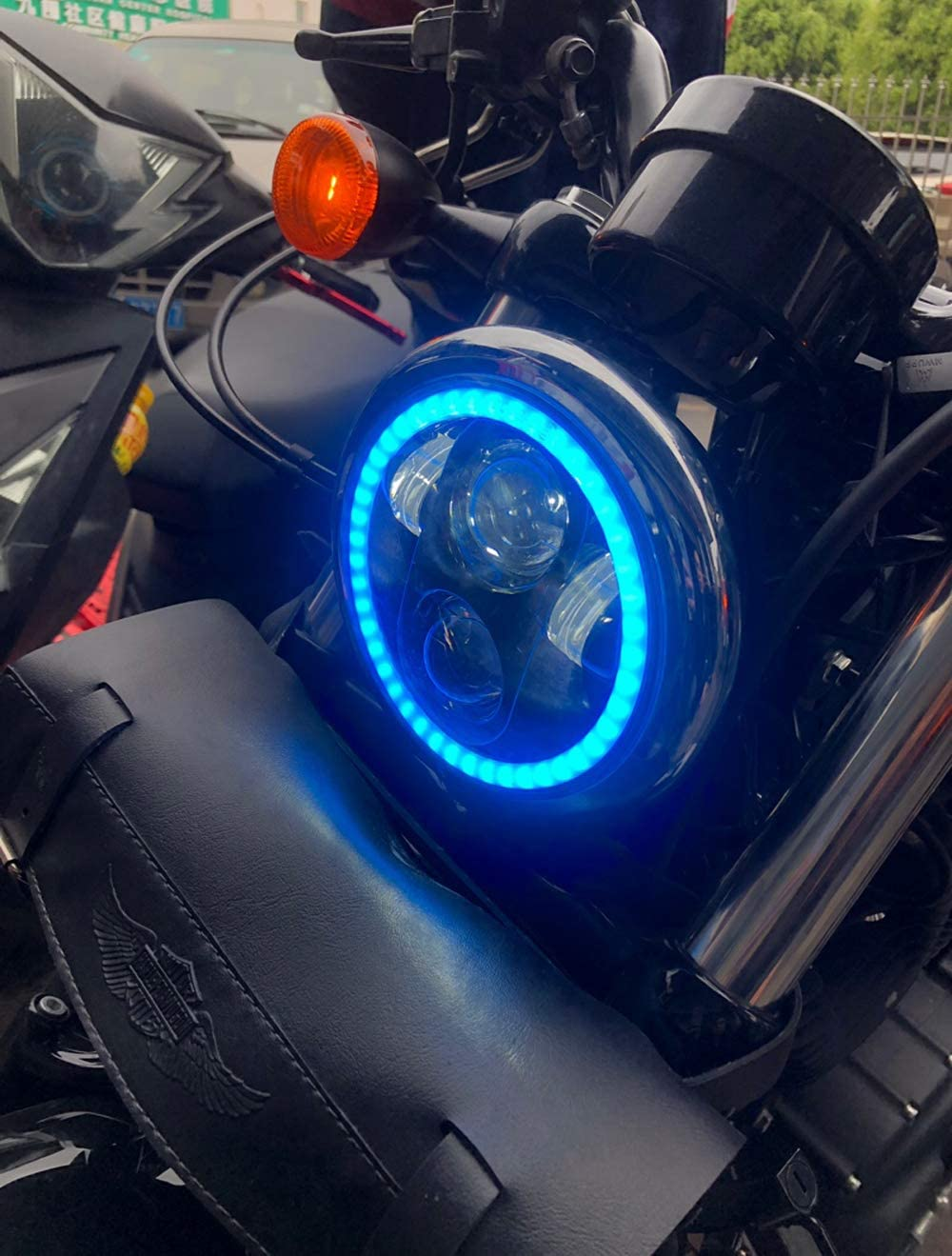 HOZAN 5.75 5-3//4inch Black LED Motorcycle Headlight Bluetooth Control RGB Halo for Indian Scout Harley Sportster Wide Glide XL1200 XG750 883 48 Night Rod