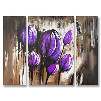 Hand Painted Split Canvas Paintings Abstract Unframed 3 Pieces