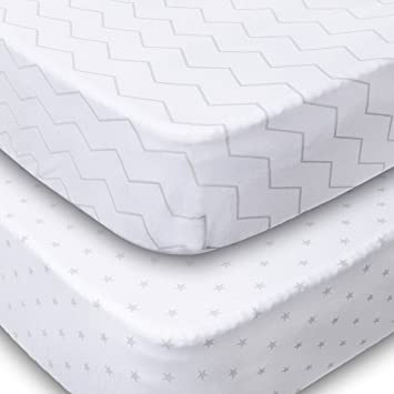 Playard Sheets 2 Pack Fitted Soft Jersey Cotton Playpen Sheet Bedding With Unisex Chevron