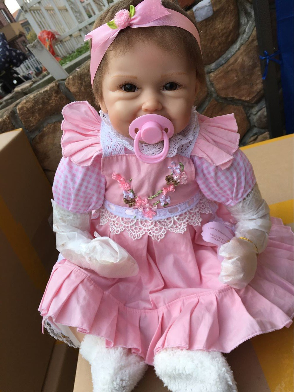 Funny House Hot 45cm18 Reborn Dolls Realistic Handmade Looking Lifelike Soft Silicone Vinyl Child Growth Partner Cute and Lovely Pink Dress Birthday Xmas Present Free Magnet Pacifier Cheap by Funny House