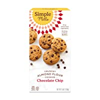 Simple Mills Almond Flour Chocolate Chip Cookies, Gluten Free and Delicious Crunchy Cookies, Organic Coconut Oil, Good for Snacks, Made with whole foods, (Packaging May Vary)
